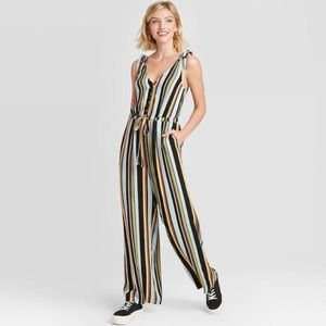 Multicolor Striped Sleeveless V-Neck Jumpsuit S